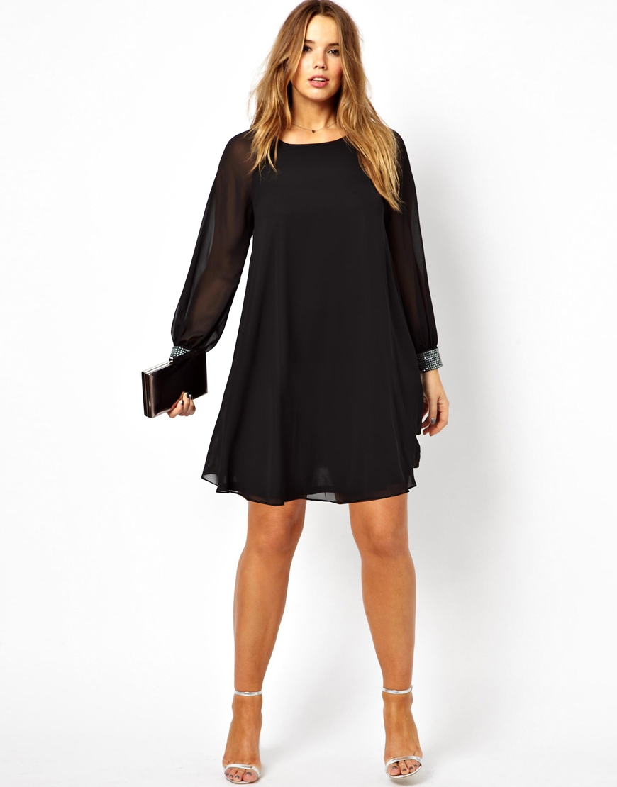 Asos Curve Shift Dress With Embellished Cuff Plus