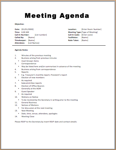 basic meeting agenda template printable meeting agenda templates