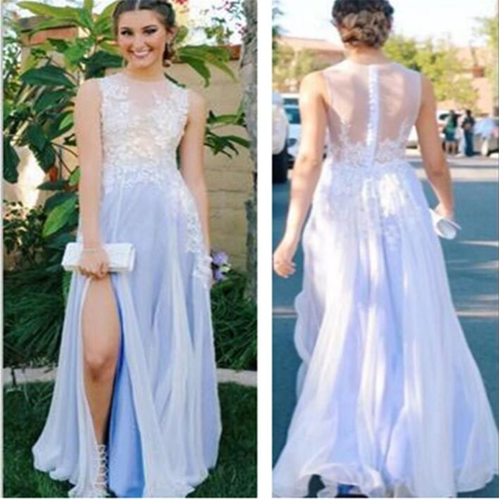 See through side slit pale blue lace scoop prom dresscustom aline
