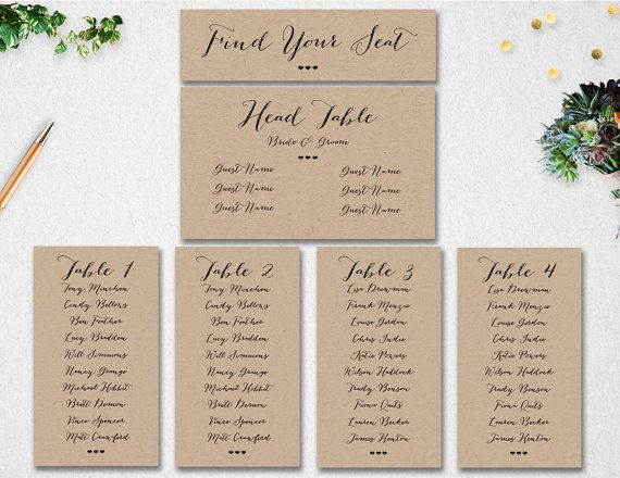 Editable Table Seating Chart  Wedding Template Instant Download