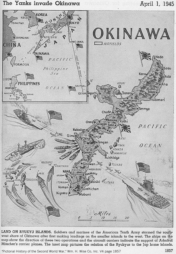 Okinawa Images | Map Of Okinawa Invasion 1 April 1945 From Veterans Of  Foreign Wars .