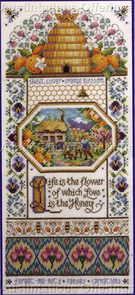 Orton Bee Skep Sampler Cross Stitch Kit Bees Honey Hive