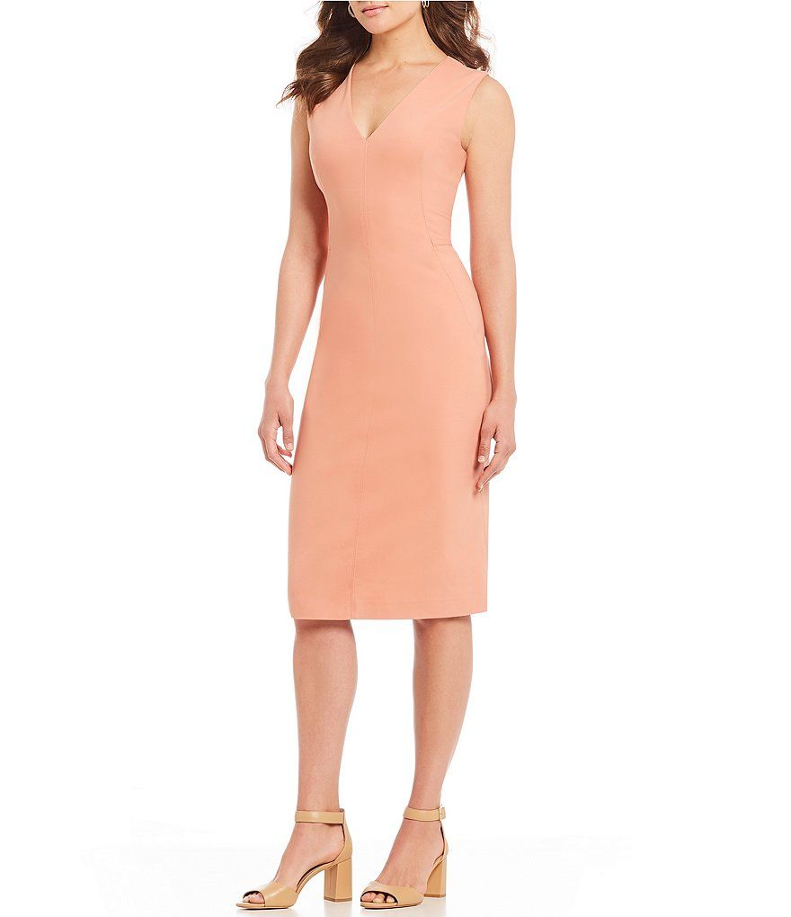 6e99696f1ab Dusty Apricot Bria Sleeveless Sold Sheath Midi Dress
