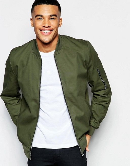 cd09efead Cotton Bomber Jacket With Sleeve Zip In Khaki in 2019 | Wish List ...