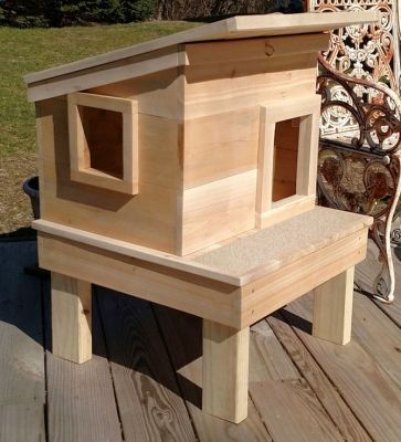 Outdoor Cat House On Platform With