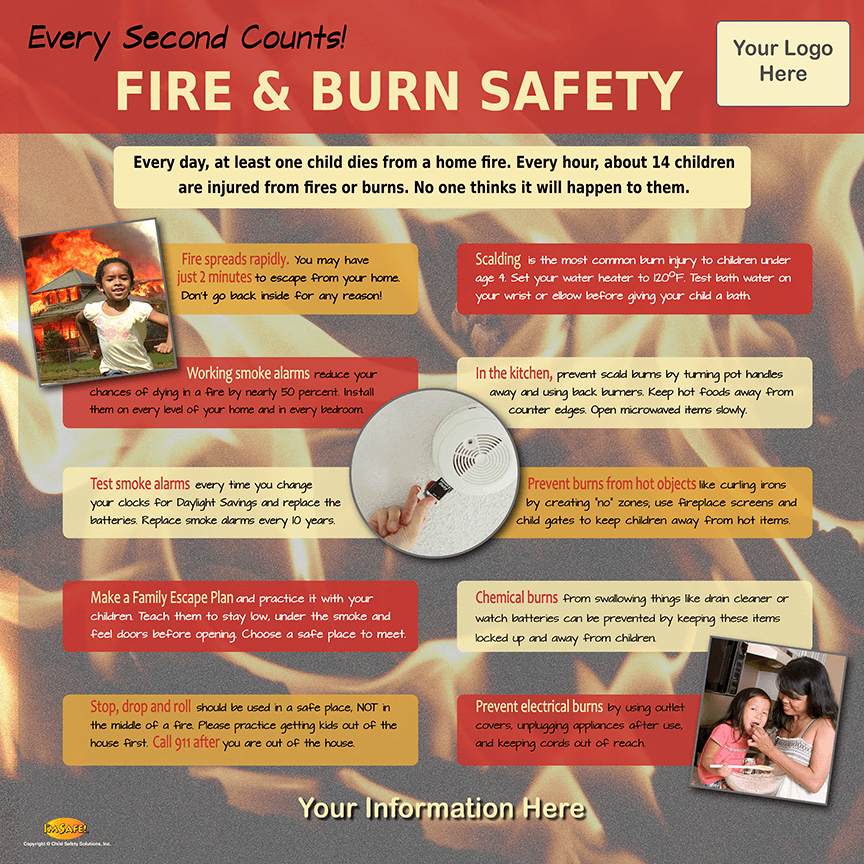 Educate families about fire and burn safety as they interact with