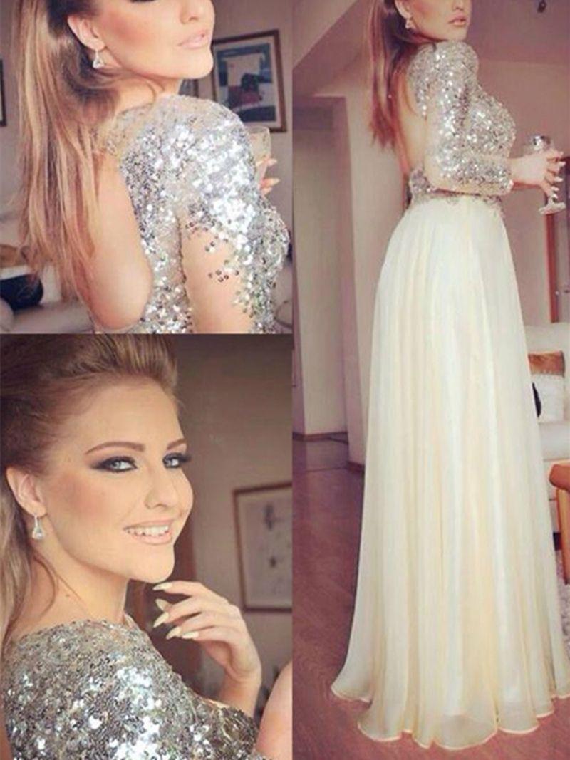Gorgeous aline jewel long sleeves sequins floorlength prom dress