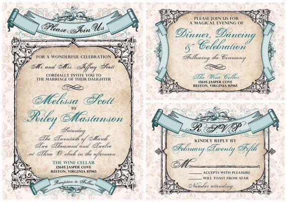 Baroque Wedding Invitations: Vintage Baroque Banners Wedding Invitation Suite. Vintage