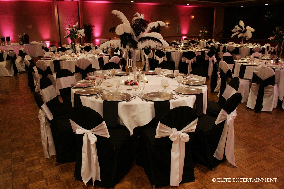 Black chair covers silver sash white table weddings for Table and chair decorations for weddings