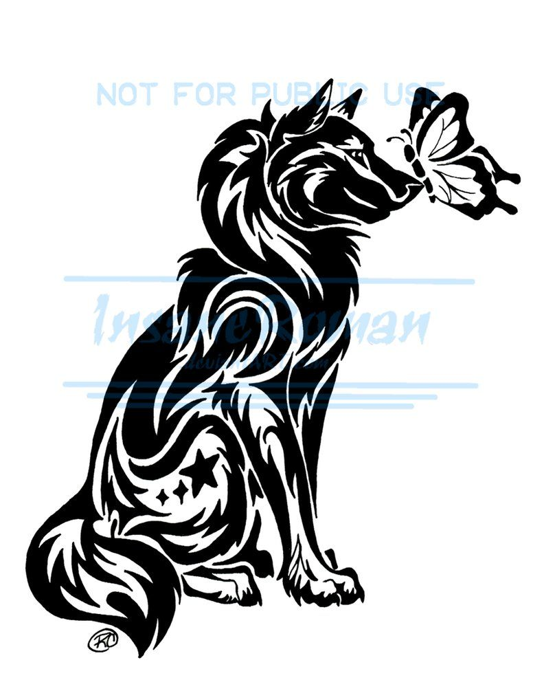 Wolf And Butterfly Tattoo Wip By Insaneroman On Deviantart Tribal Wolf Tattoo Wolf Tattoos Tribal Drawings