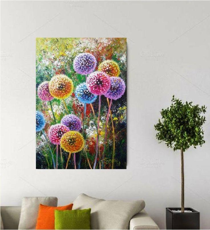 Bon Painting Canvas Decor Gift Dandelion Flower Decor Art Acrylic Wall Art  Canvas Decor Living Room Wall Art Acrylic Flower Painting On Canvas |  Dandelion ...