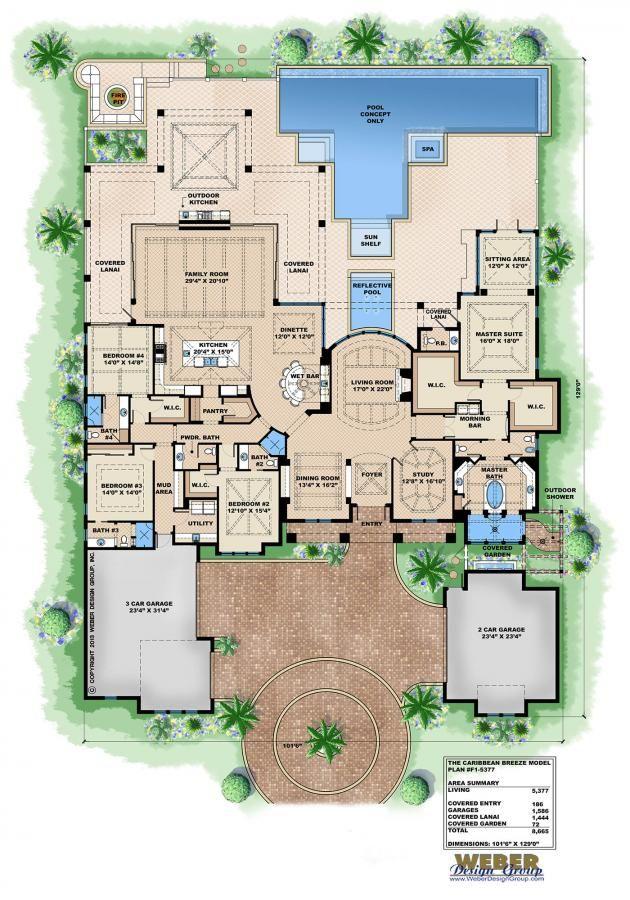 Caribbean House Plan 1 Story Contemporary Beach Home Floor Plan Dream House Plans House Floor Plans House Plans