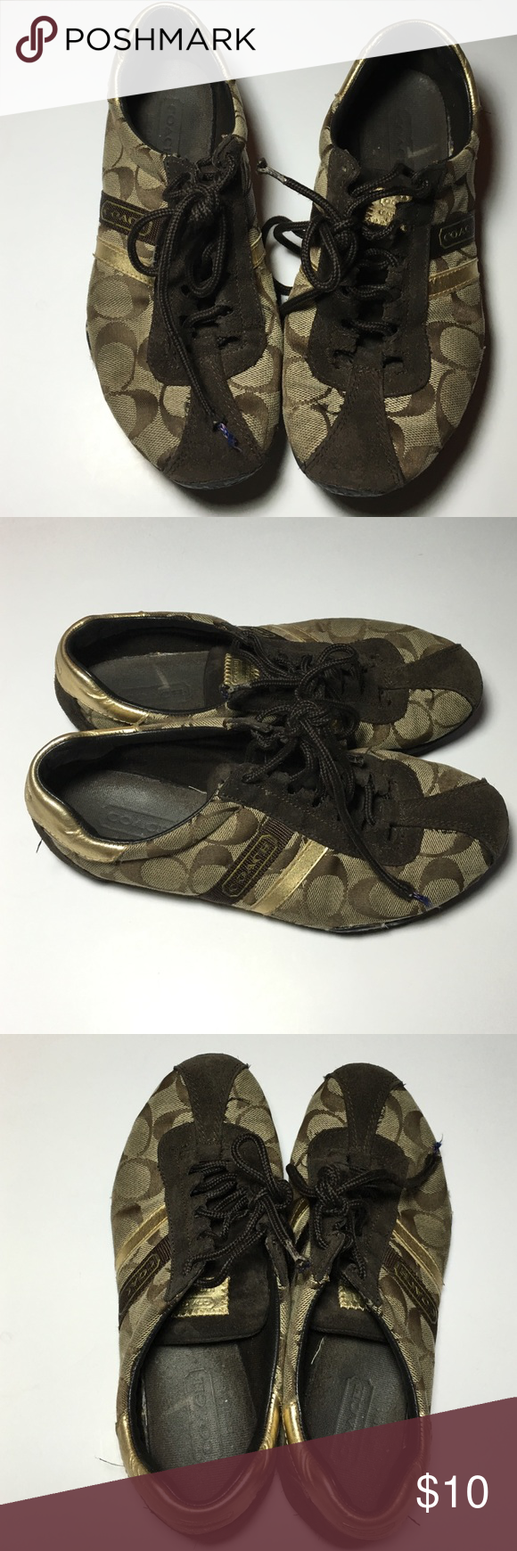 Coach Sneakers Preowned, brown monogram sneakers. Does have lots of wear, right shoe string has slightly pulled lose. Clean and need a new home! Coach Shoes Sneakers