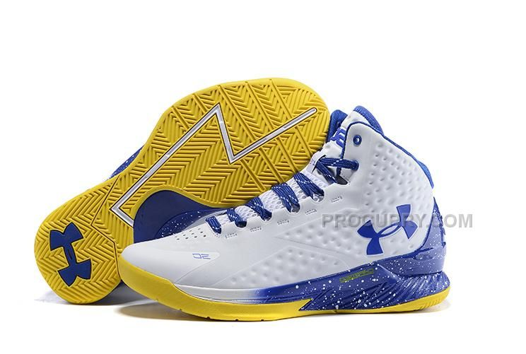 dfa866b77c81 Under Armour UA Curry One 2015 White Blue Yellow Basketball Shoes Sale  Discount