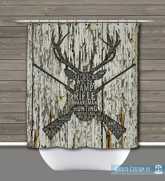 Hunting Shower Curtain Deer Head Rustic Lodge Wilderness Rifles