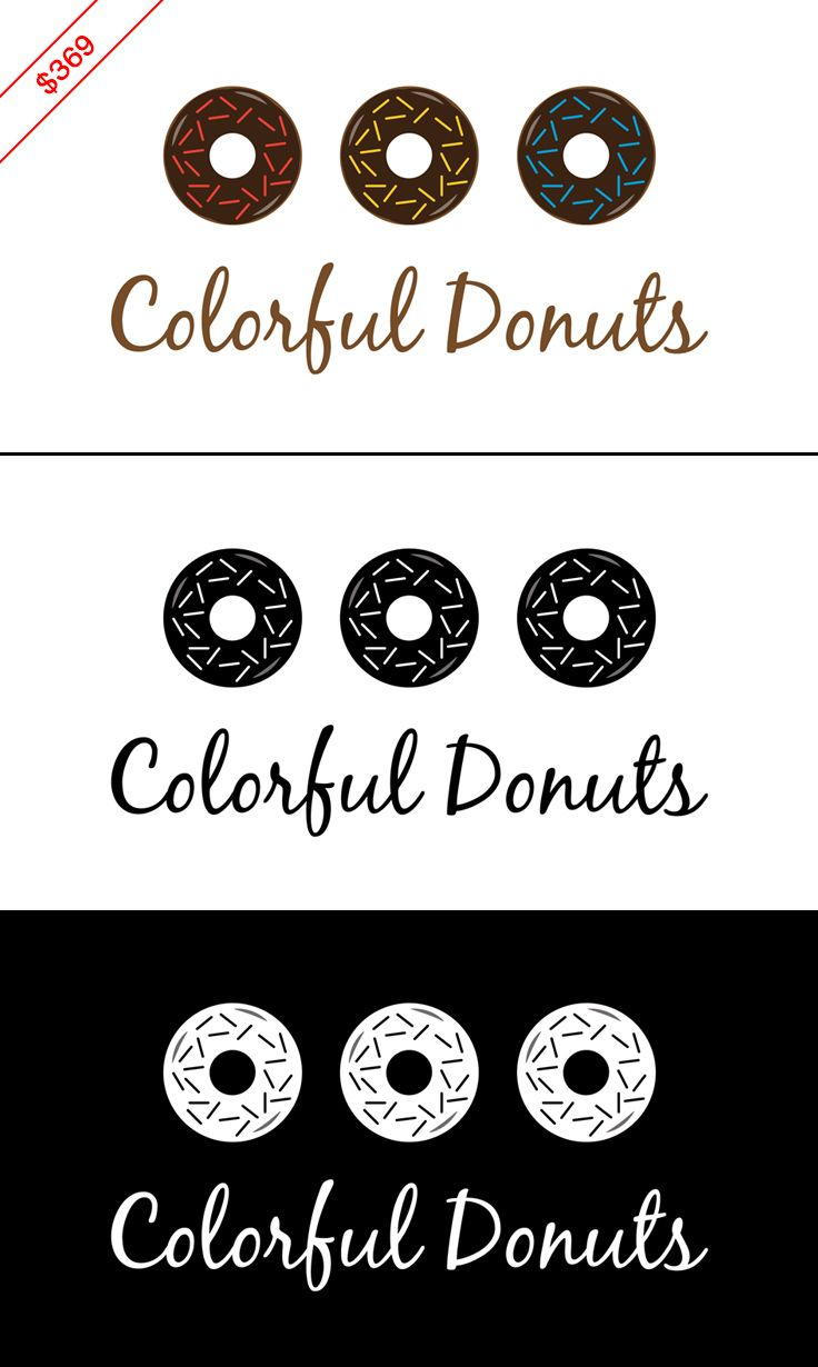 $369 chocolate donuts logo / candy logo. design will be customized