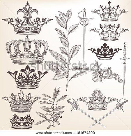 Vector set of crowns for your heraldic design Рисунки
