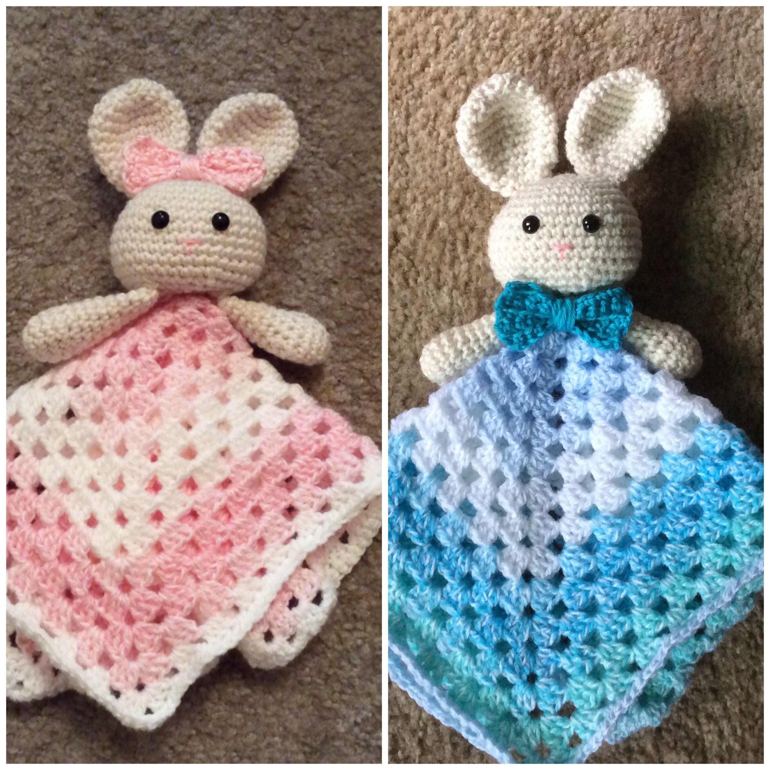 Crochet Bunny Lovey, Security Blanket, Soft Toy Doll, Amigurumi Baby ...