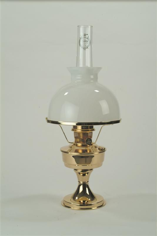 Delightful Lehmanu0027s   Simple, Yet Elegant Aladdin Brass Oil Lamp And White Student  Shade