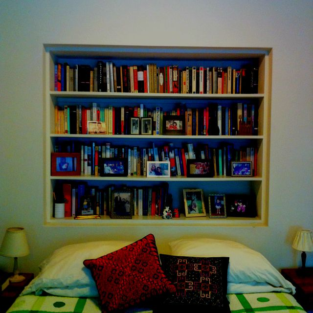 Bedroom With Recessed Bookcase