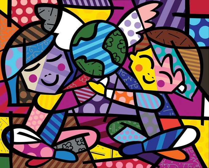 CHILDREN OF THE WORLD ROMEO BRITTO  PICTURE  PRINT ON FRAMED CANVAS WALL ART