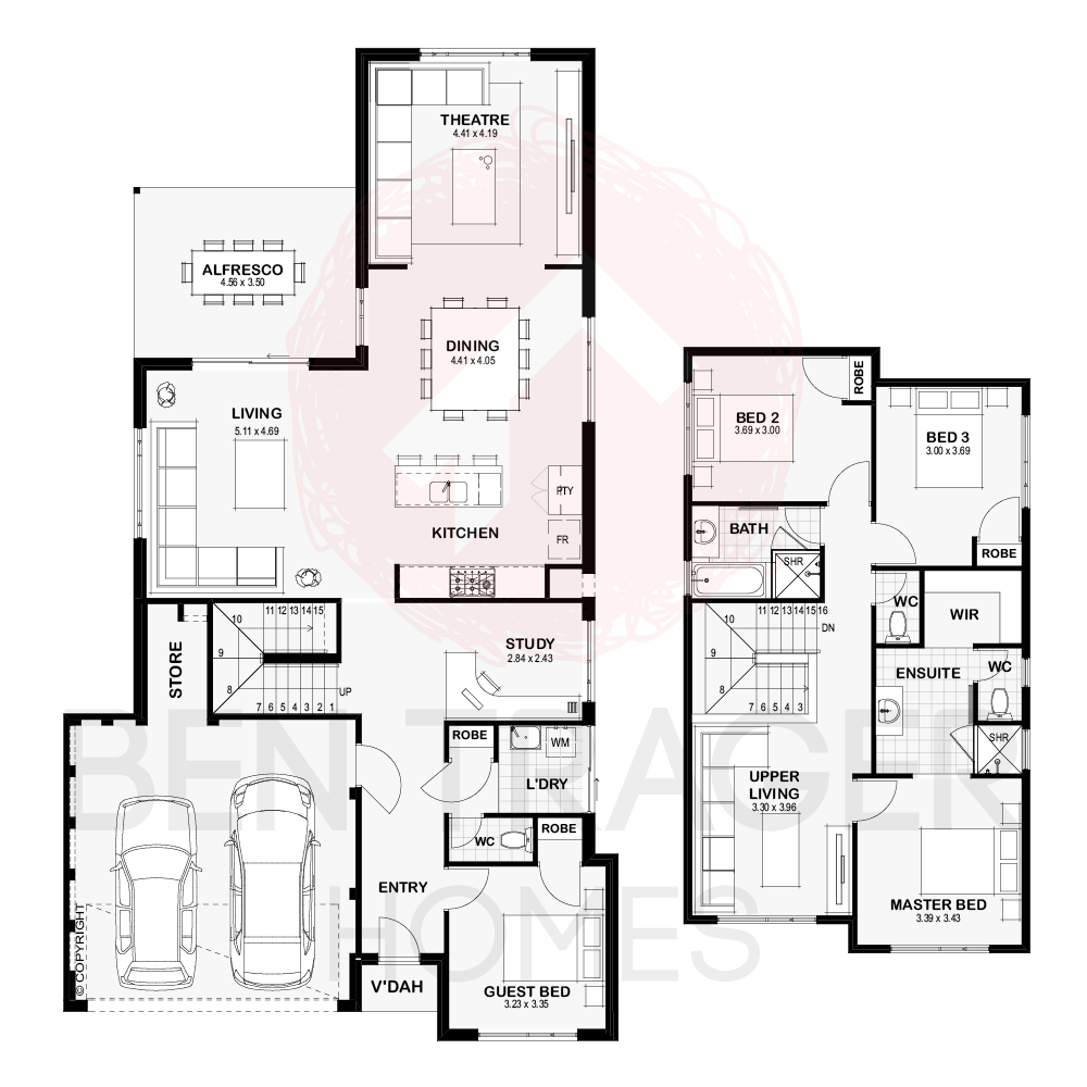 The Henley Ben Trager Homes Double Storey House Plans House Plans Floor Plans