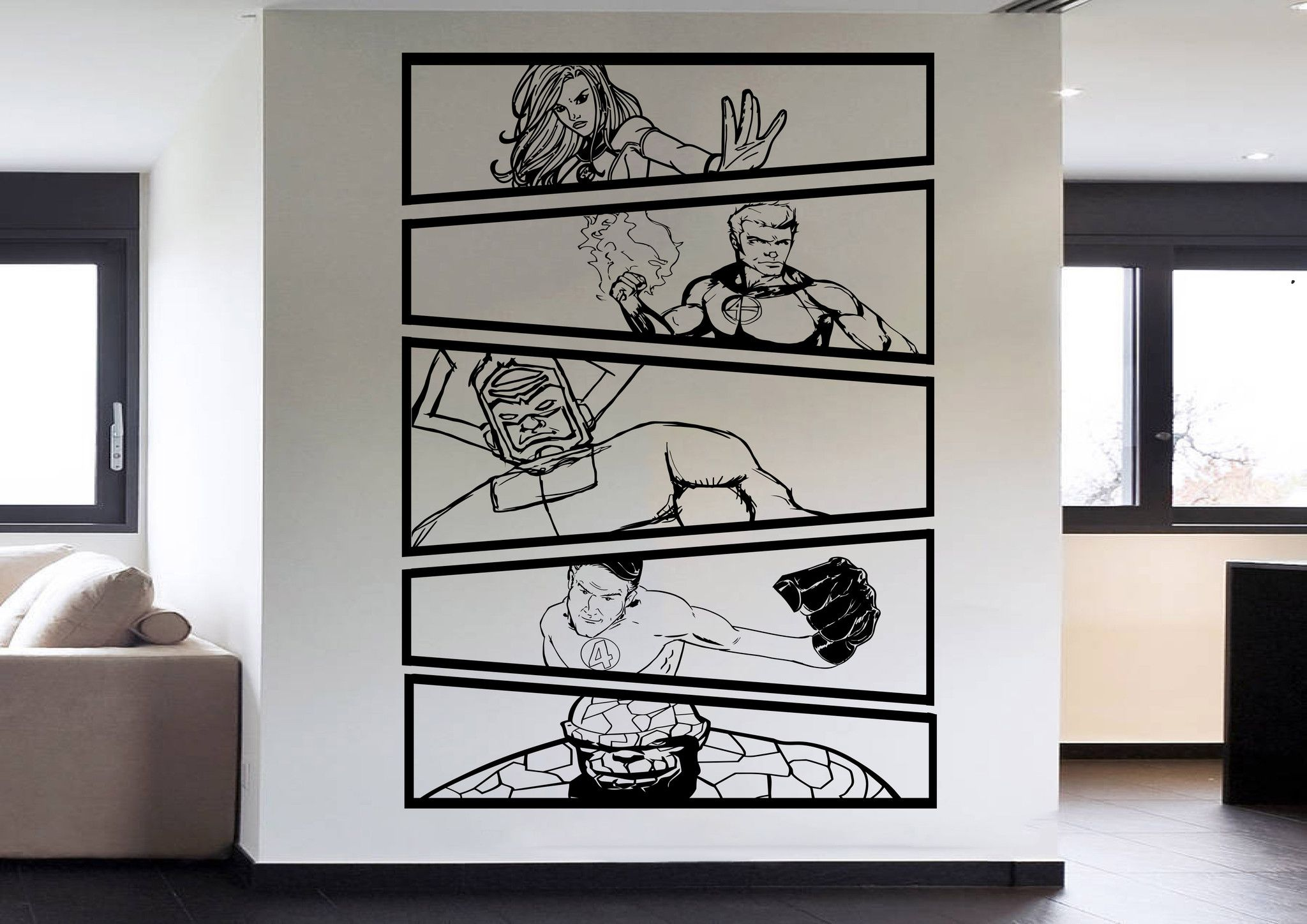Fantastic 4 Vs Galactus Comic Strip 5 Panel Wall Art Stickers U2013  Iwallstickers Part 46