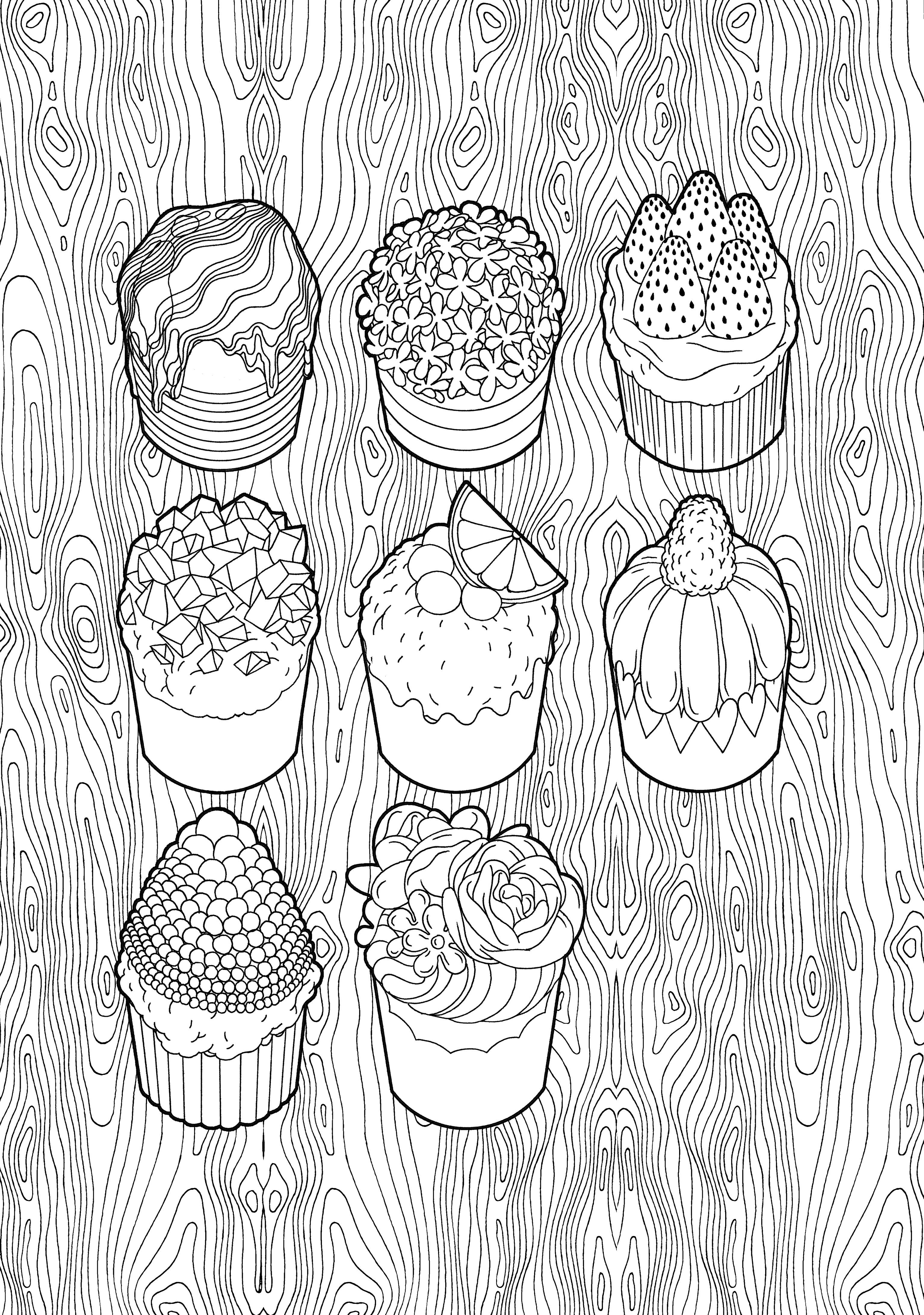 Coloriage Anti Stress Cupcake.Fees 100 Coloriages Anti Stress Buscar Con Google 甜品填色