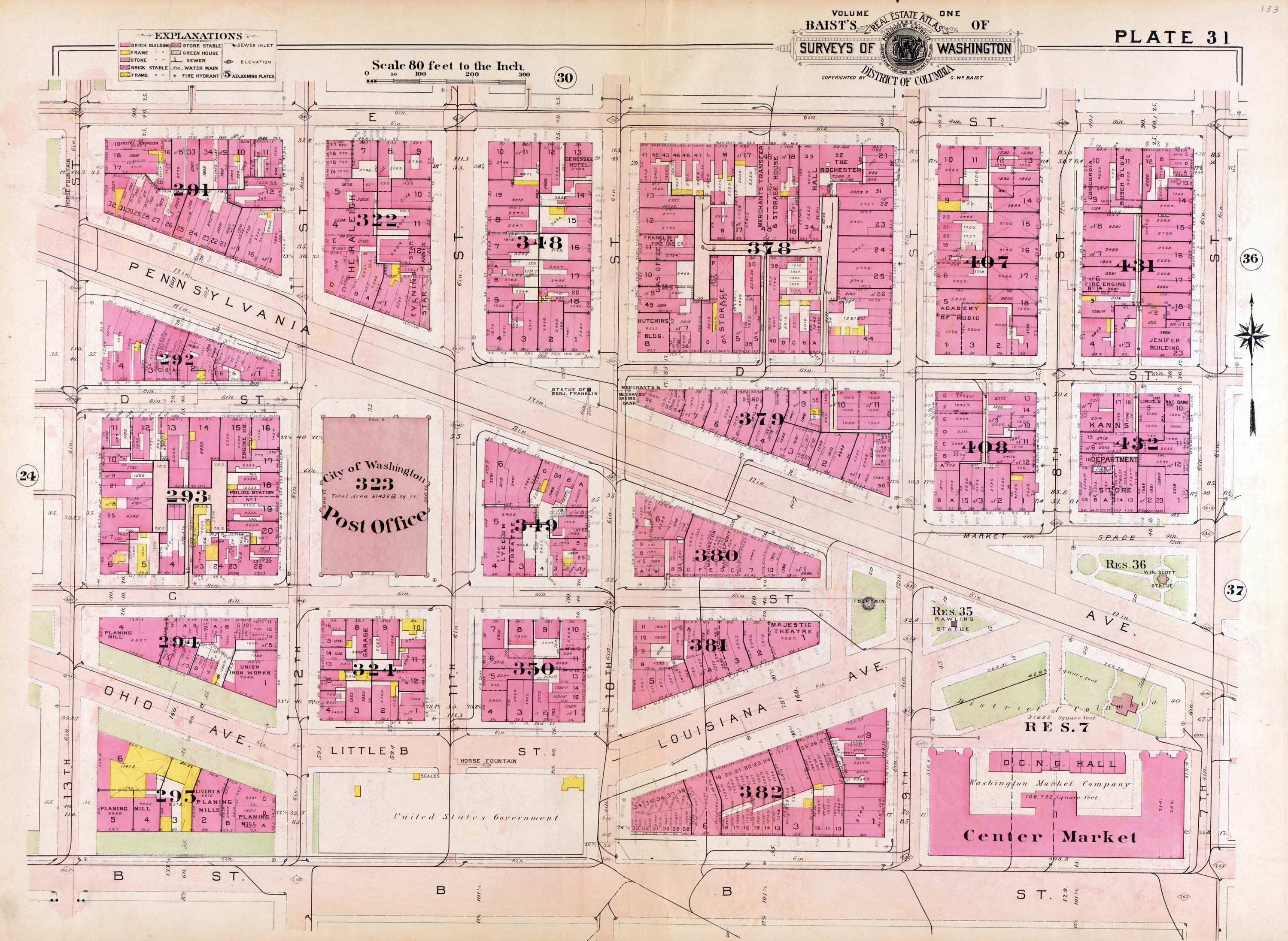 1909 Map of downtown Washington showing original location of Ben