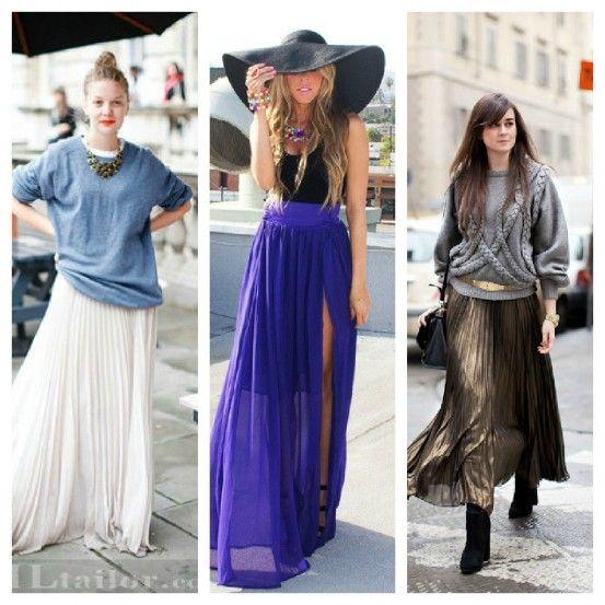 Pleated maxi skirts street style