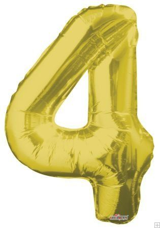Four Foil Mylar Balloon Gold Kaleidoscope 34 Jumbo Number 4
