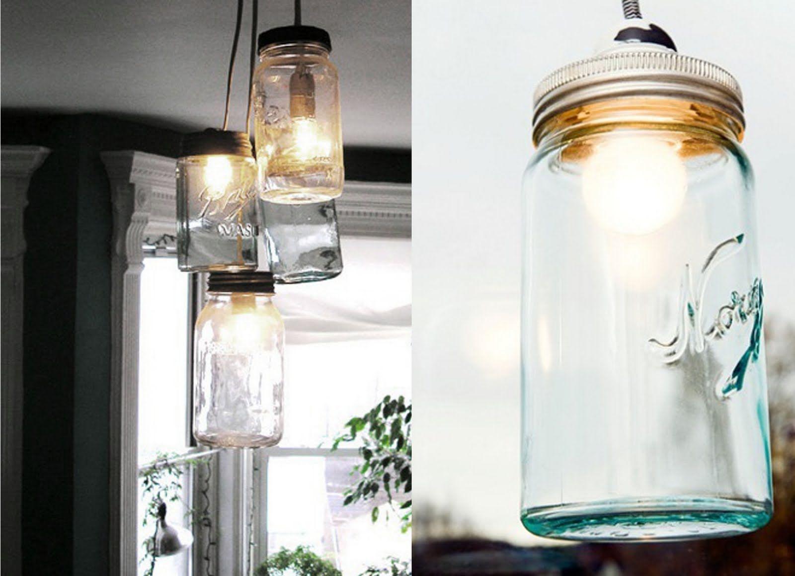 "Jar lamp, using old ""Norge"" jars."