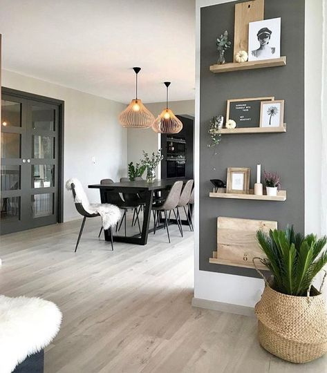 Small dark wall color mixed  light wood shelving find this pin and more on design ideas also hallway renovation in pinterest home decor
