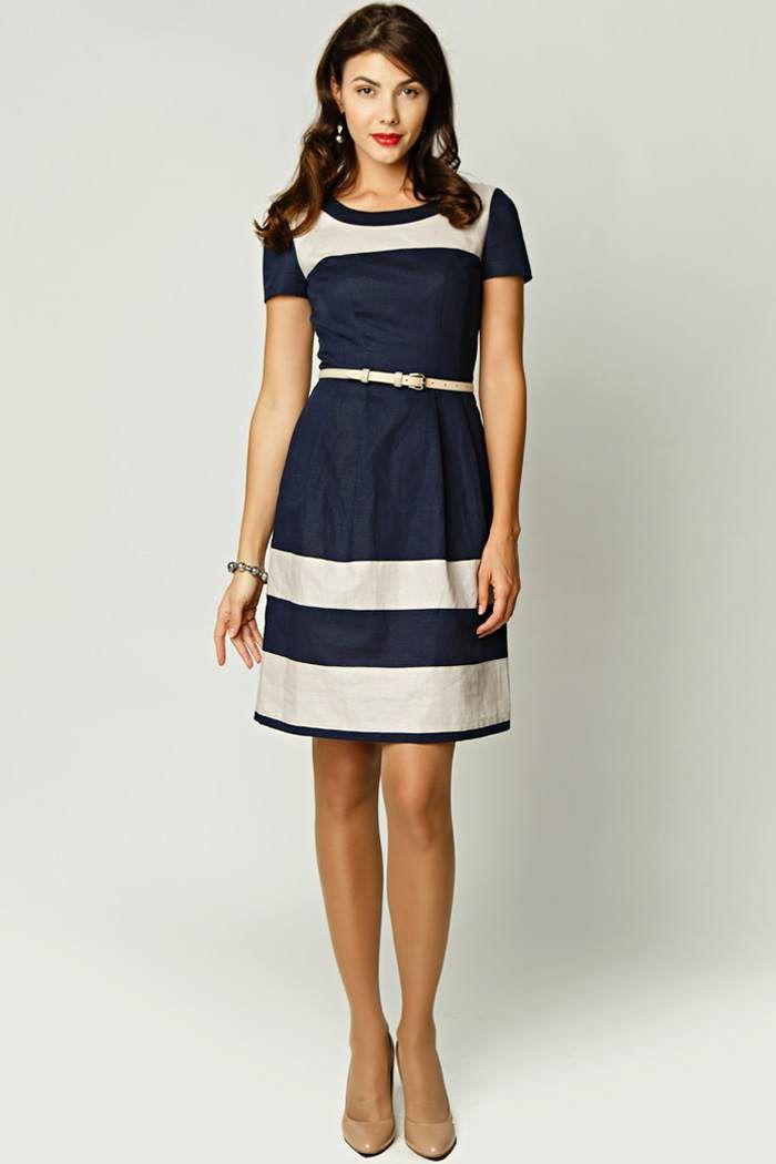 Платье комбинированные из двух тканей