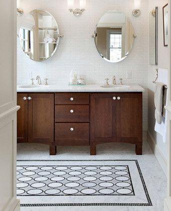 tile rug #bathroom #vanity wood stained cabinets #