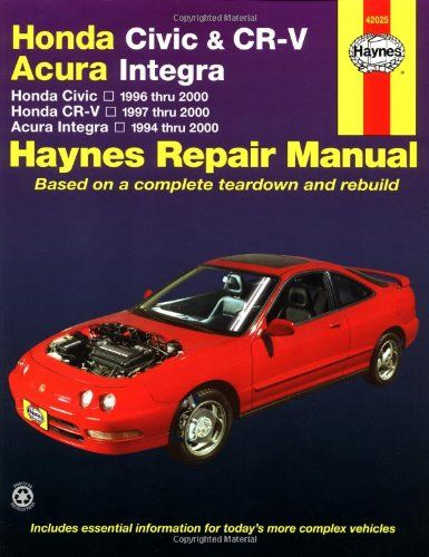 New Product Honda Civic 1996 2000 Honda Cr V 1997 2000 Acura Integra 1994 2000 Haynes Automotive Repair Manua Repair Manuals Honda Civic Automotive Repair