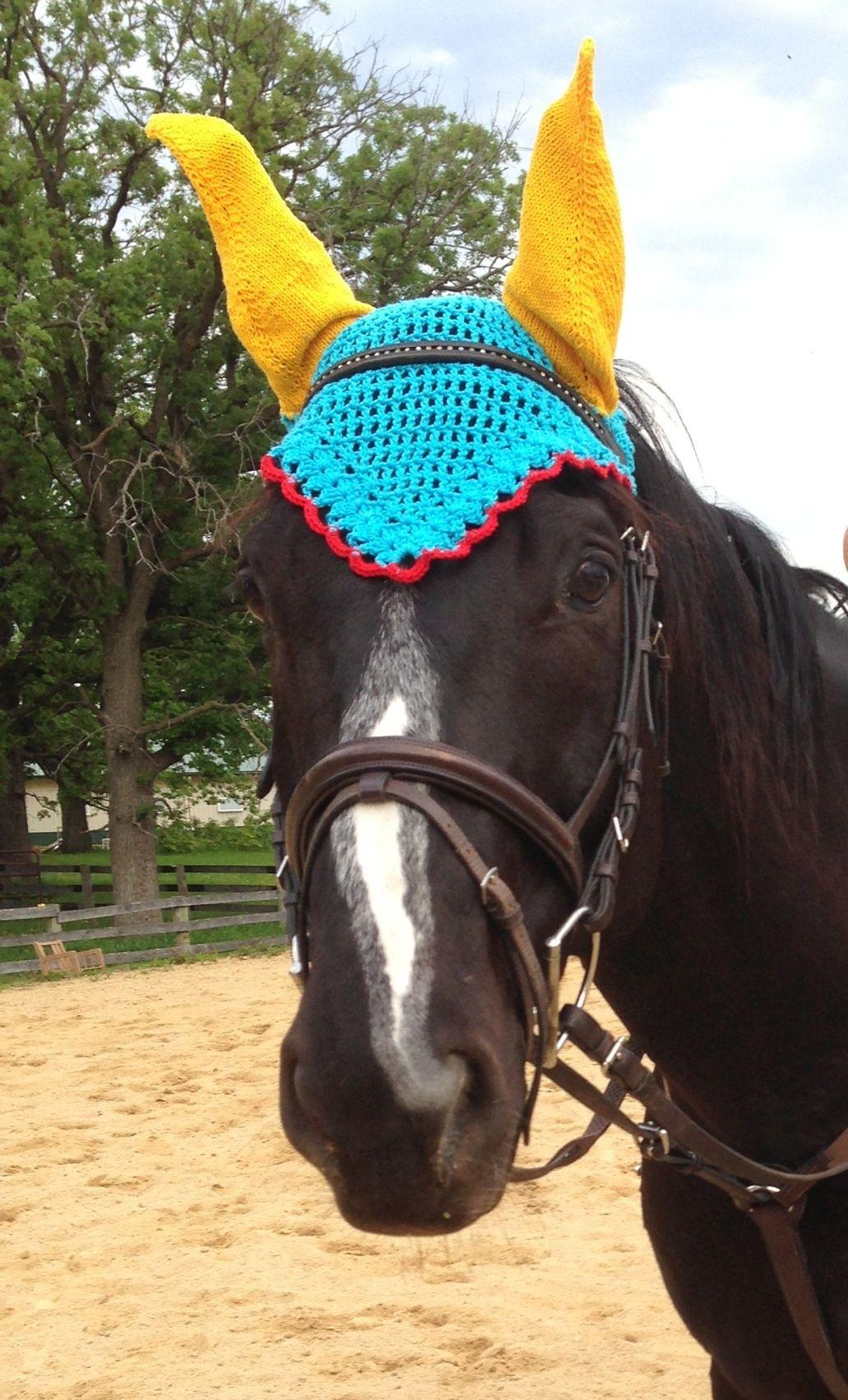 Horse Bonnet - Horse ear nets Knit and Crochet pattern http://www ...