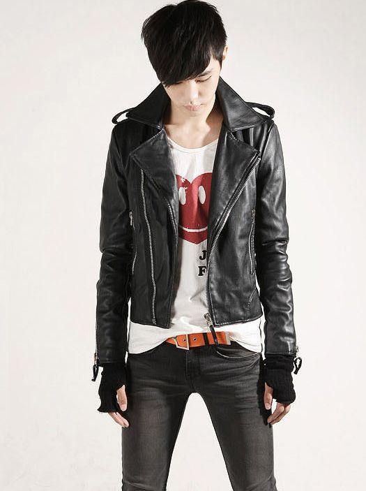New Korea Fashion Men Zip up Slim Fit Leather Jacket ...