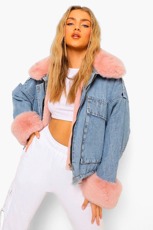 Faux Fur Trim Oversized Denim Jacket Boohoo Oversized Denim Jacket Denim Jacket With Fur Fur Jacket Outfit [ 1500 x 1000 Pixel ]