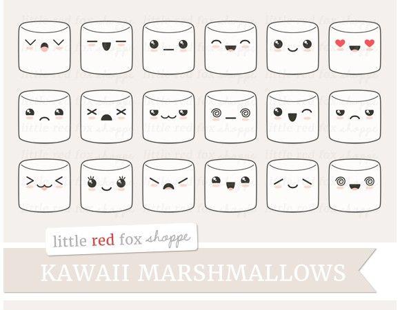 Kawaii Marshmallow Clipart. Printables. $6.00   Digital ...