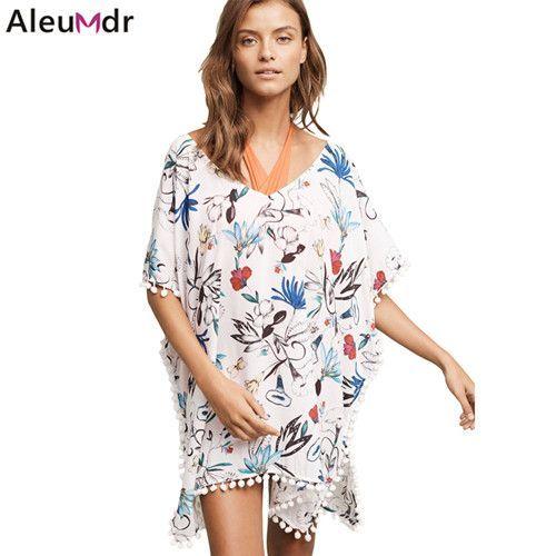 Ladies Womens Floral Print Beach Cover Up Sarong Bikini Holiday Summer Sun Dress