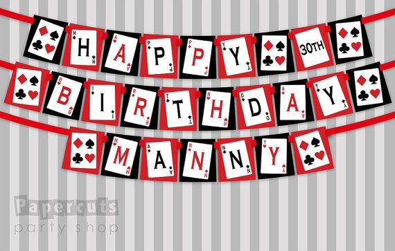 Printable DIY Red And Black Casino Night Poker Playing Card Theme Personalized Happy Birthday Banner Digital File