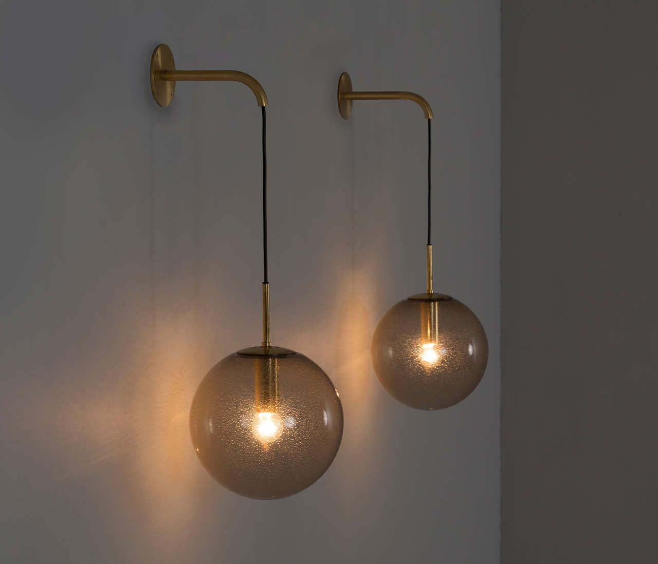 Large Set of 24 1960s Wall Light with Brass Details Modern wall, Globe and Metals