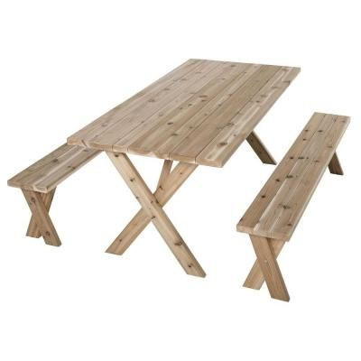 Nice Jewett Cameron Lumber Corp 70 In. L X 35 In. W X 30 In. H Cedar Patio Picnic  Table With 2 Benches