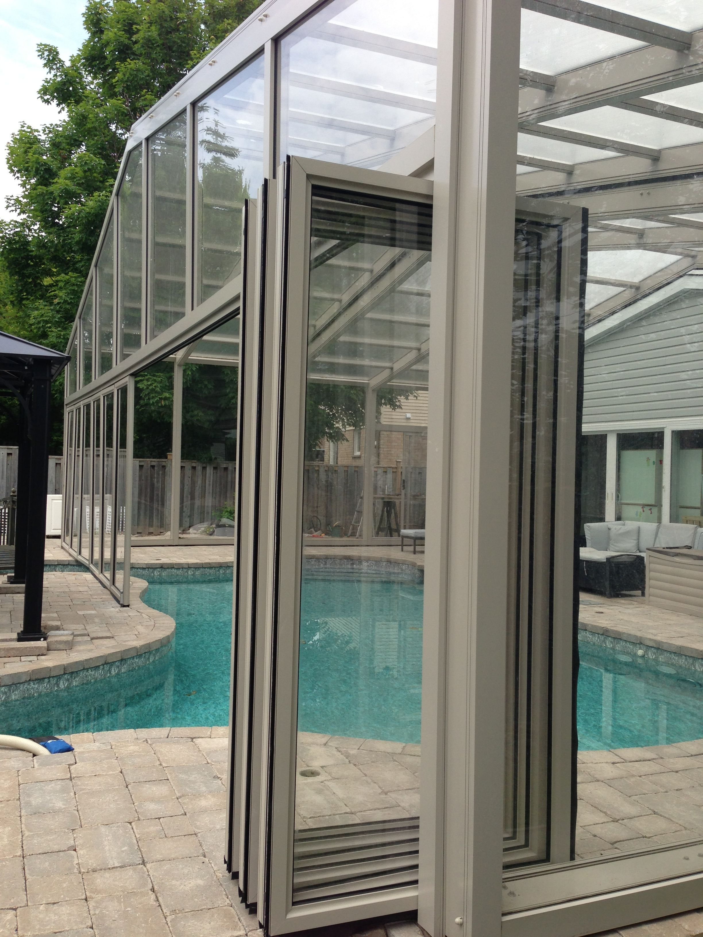 Bi Fold Doors Open On Pool Enclosure Indoor Outdoor Pool Pool Enclosures Pool Decks