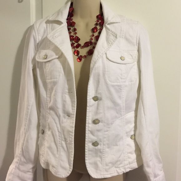 White denim jacket White shirt denim jacket with sliver buttons, side pockets and front pockets - never worn Talbots Jackets & Coats Jean Jackets