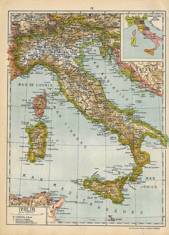 1942 Italy Map Original Antique. would love this in my Italian themed bathroom. the homeland!