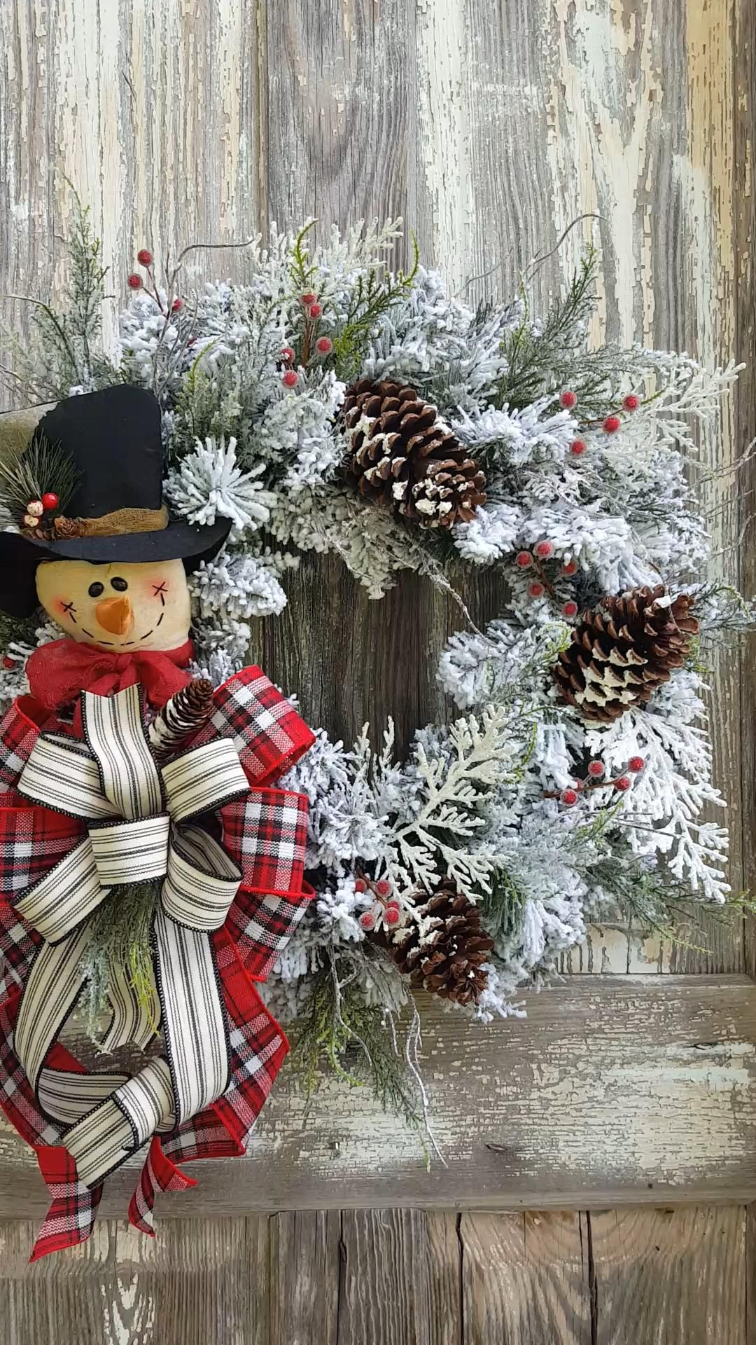 Rustic Snowman wreath -   19 christmas decor wreaths & garlands ideas