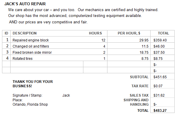 Sample Auto Repair Estimate Template Before you call a AC repair ...