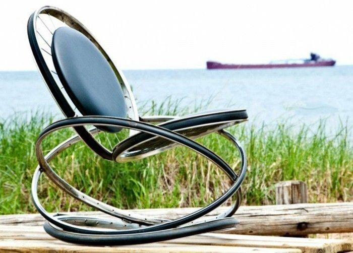 schaukelstuhl aus alten fahrradrädern selber bauen diy ideen, Möbel